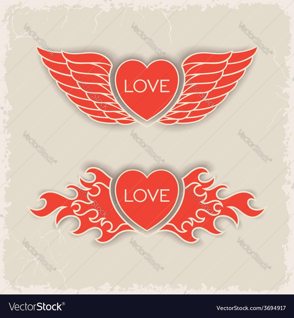 Heraldic volumetric hearts vector | Price: 1 Credit (USD $1)