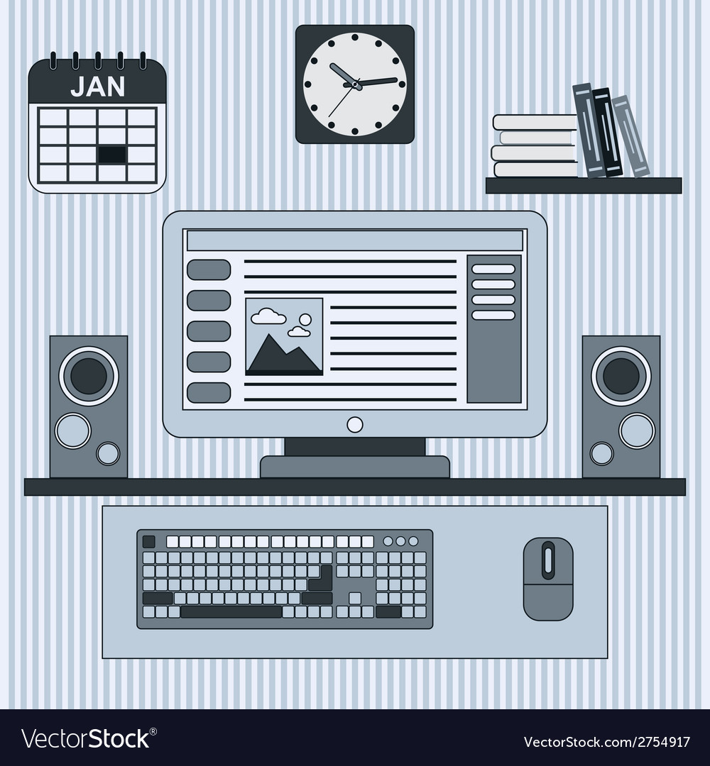 Home workplace concept vector | Price: 1 Credit (USD $1)