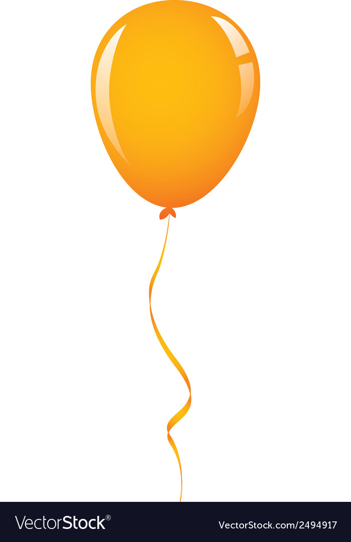 Orange balloon ribbon vector | Price: 1 Credit (USD $1)