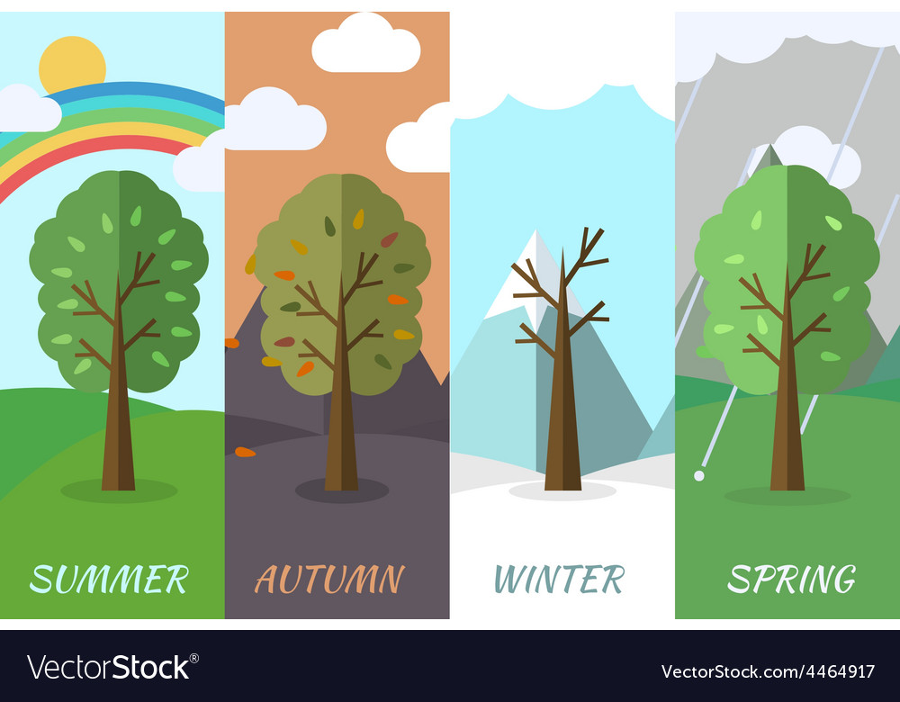 Season icon set of nature tree background vector | Price: 1 Credit (USD $1)