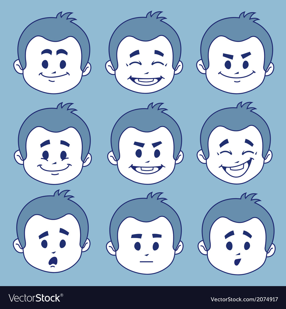 Set of nine facial expressions vector | Price: 1 Credit (USD $1)