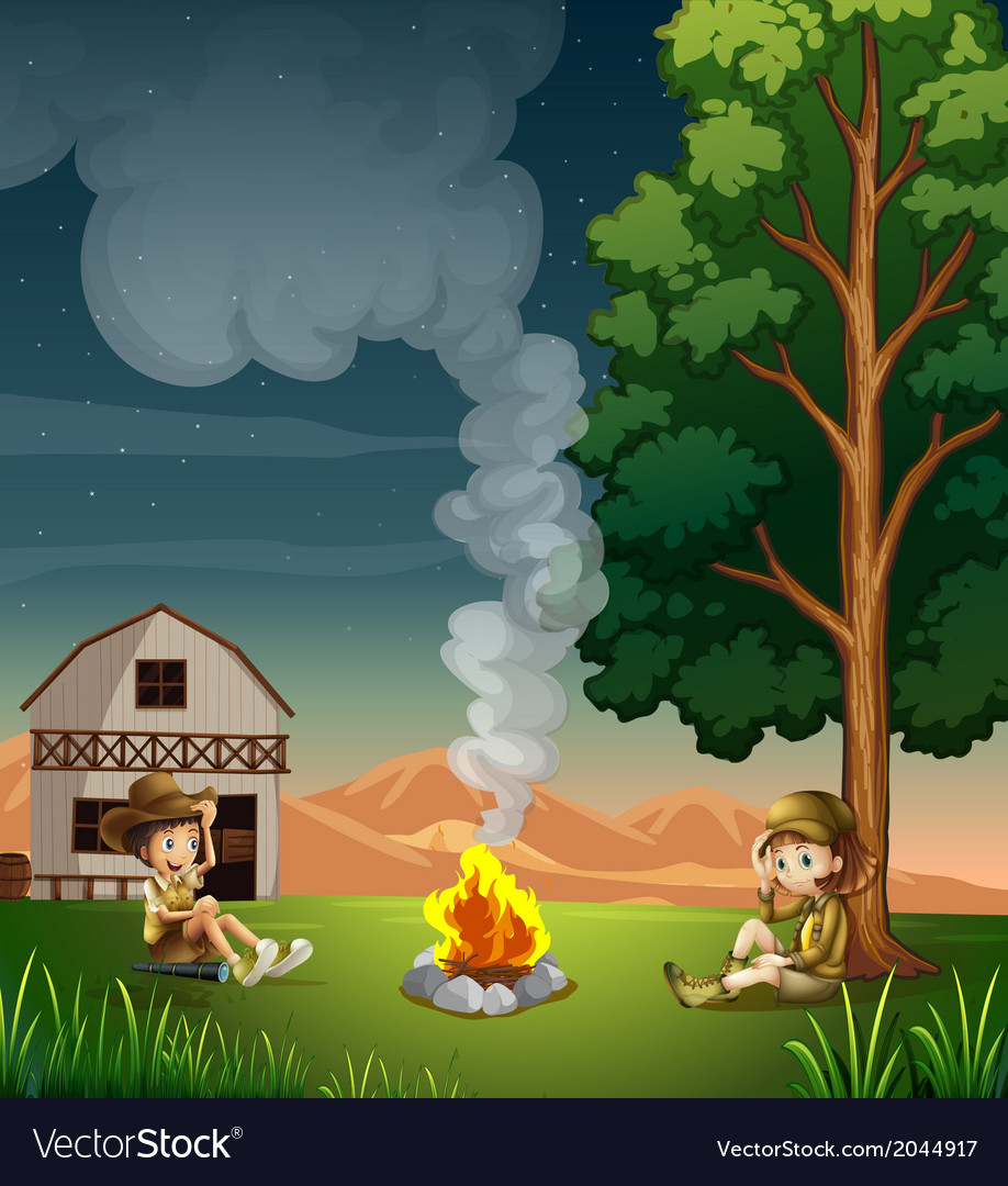 Two explorers making a campfire vector | Price: 3 Credit (USD $3)