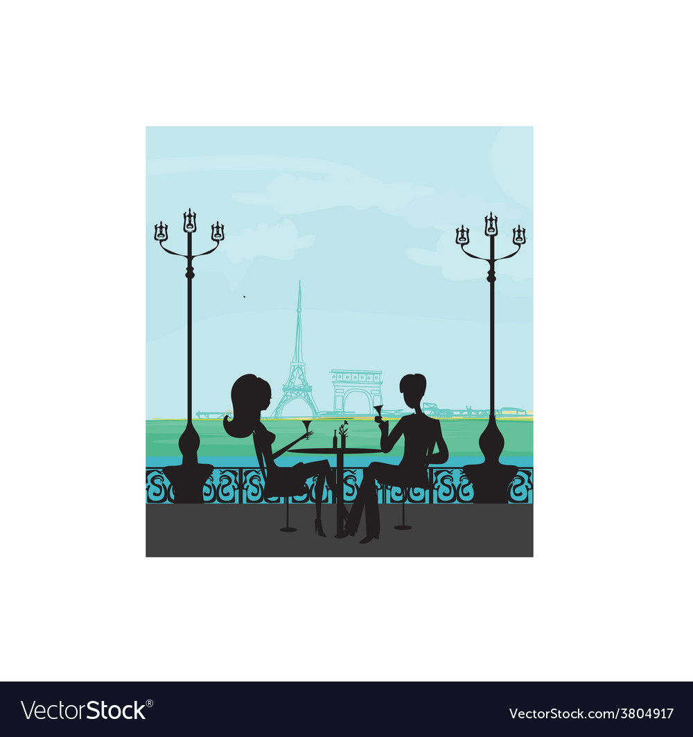 Young couple flirt and drink champagne in paris vector | Price: 1 Credit (USD $1)