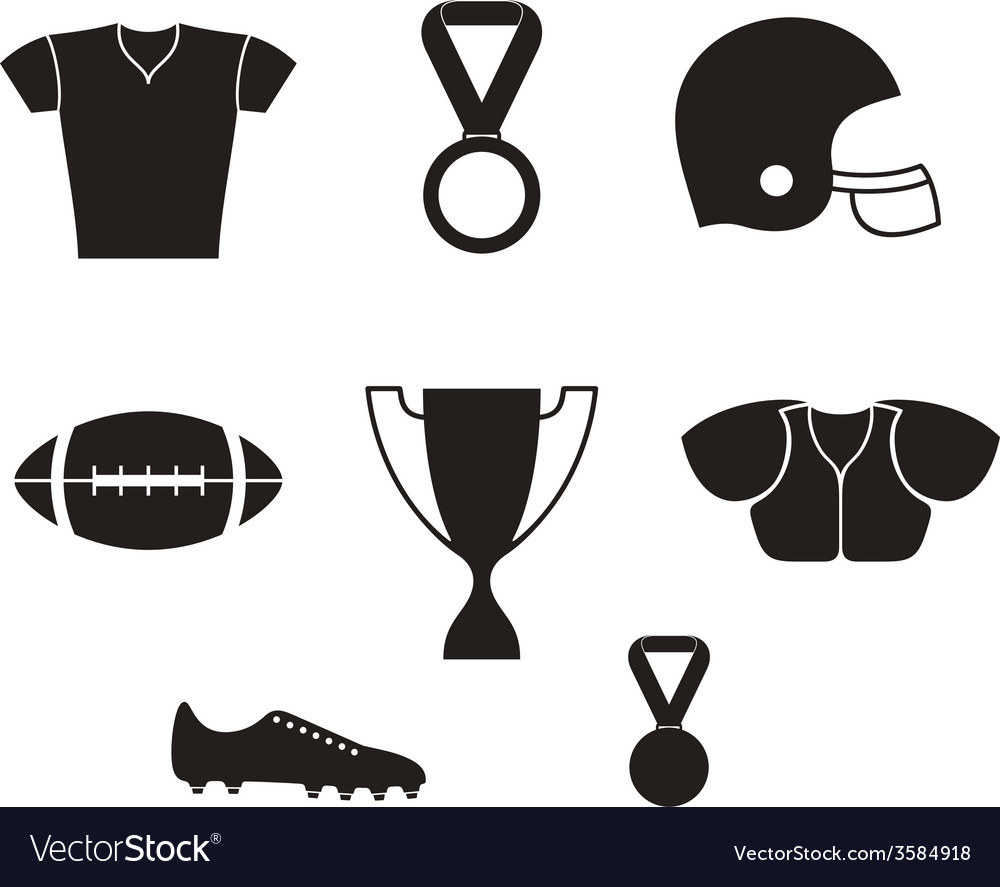 American football icon set vector | Price: 1 Credit (USD $1)
