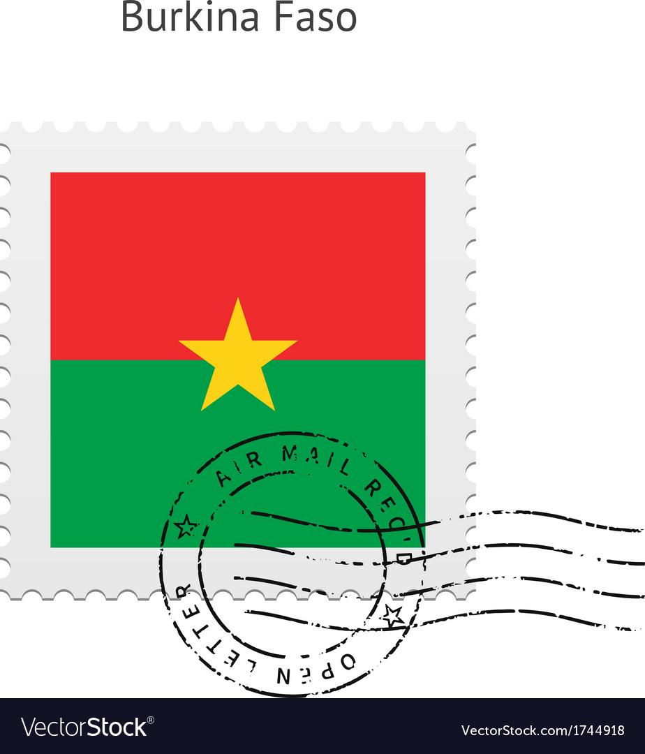 Burkina faso flag postage stamp vector | Price: 1 Credit (USD $1)