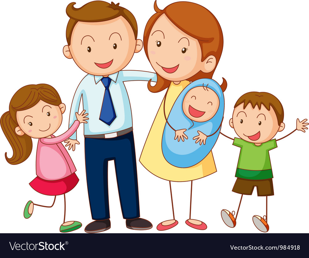 Cartoon family portrait vector | Price: 3 Credit (USD $3)