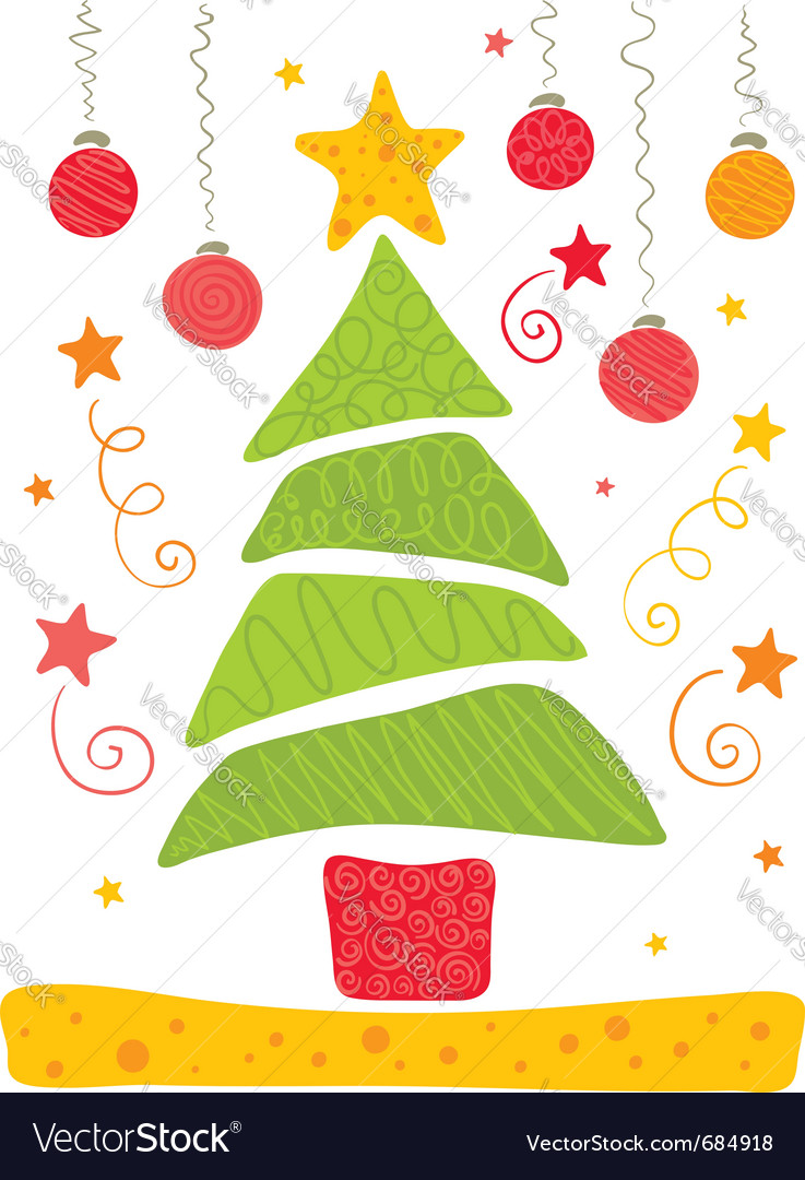 Cheerful christmas tree vector | Price: 1 Credit (USD $1)