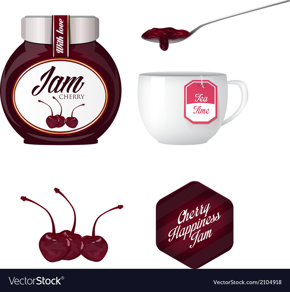 Cherry jam and a cup of tea vector | Price: 1 Credit (USD $1)