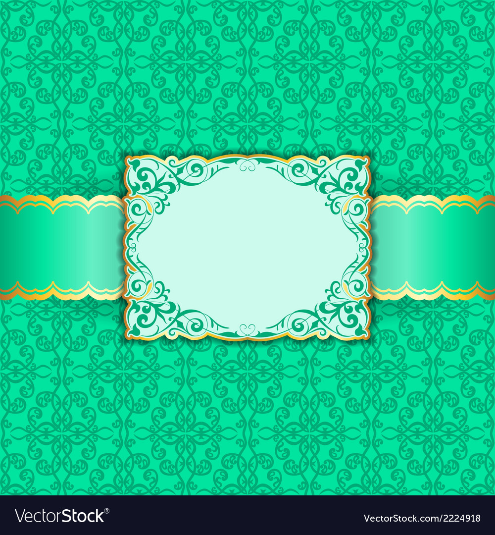 Greeting card in green colors vector | Price: 1 Credit (USD $1)