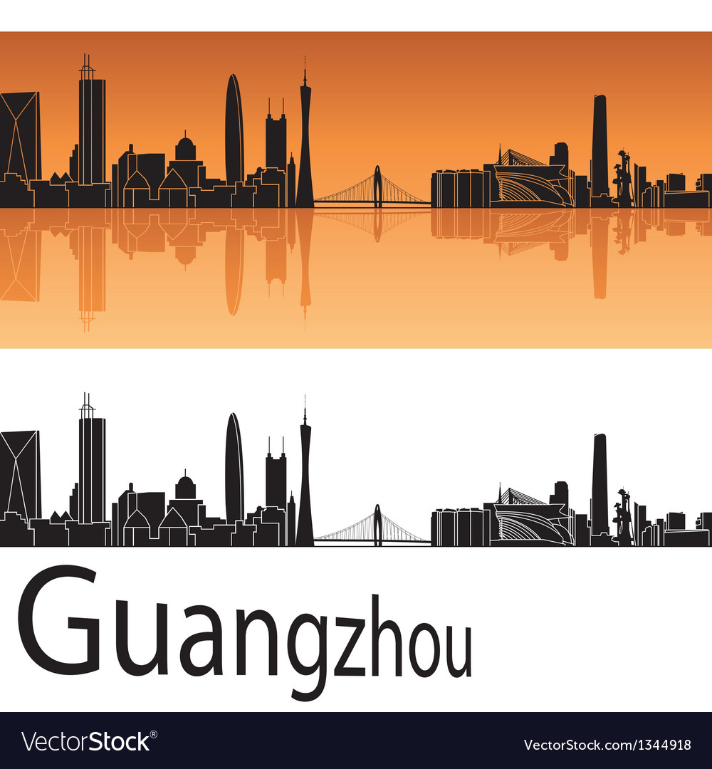 Guangzhou skyline in orange background vector | Price: 1 Credit (USD $1)