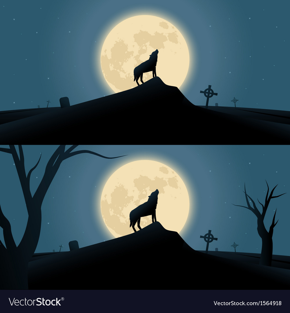Halloween background with howling werewolf vector | Price: 1 Credit (USD $1)
