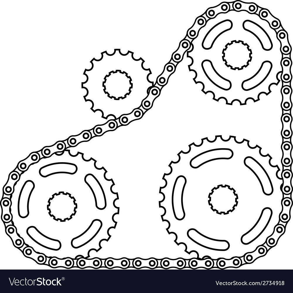 Industrial chain sprocket silhouette vector | Price: 1 Credit (USD $1)