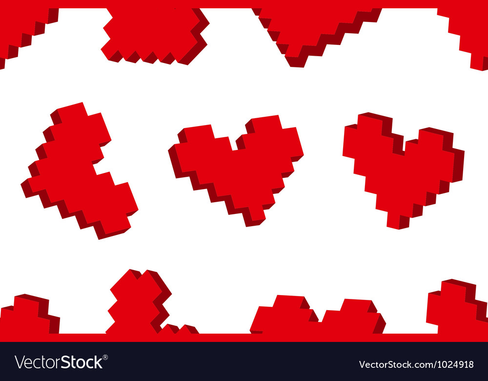Pixel hearts seamless background pattern vector | Price: 1 Credit (USD $1)