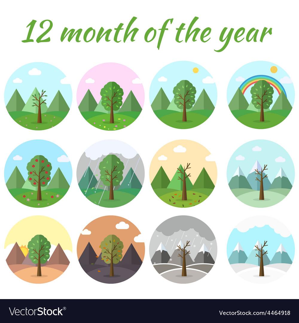 Season icon set of nature tree background vector   Price: 1 Credit (USD $1)