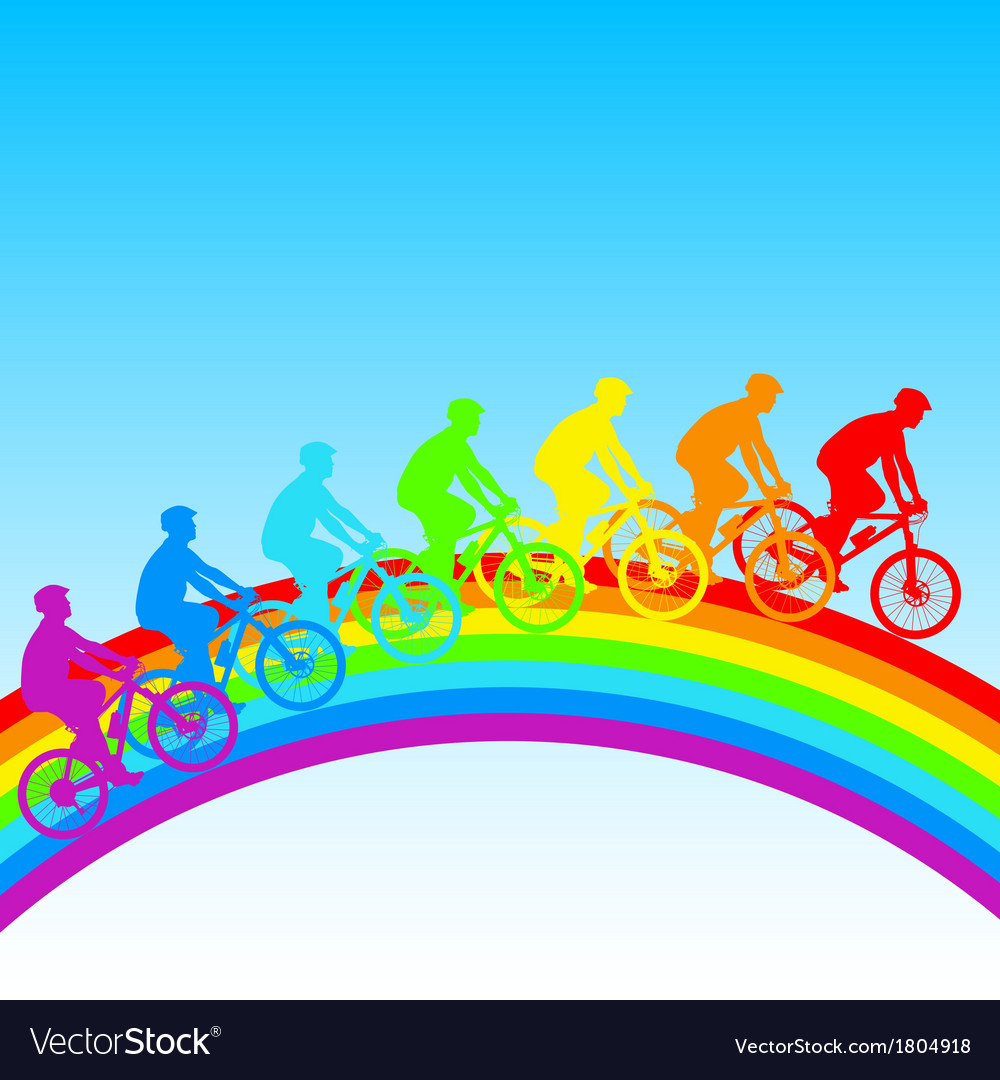 Silhouette of a cyclist a rainbow male vector | Price: 1 Credit (USD $1)