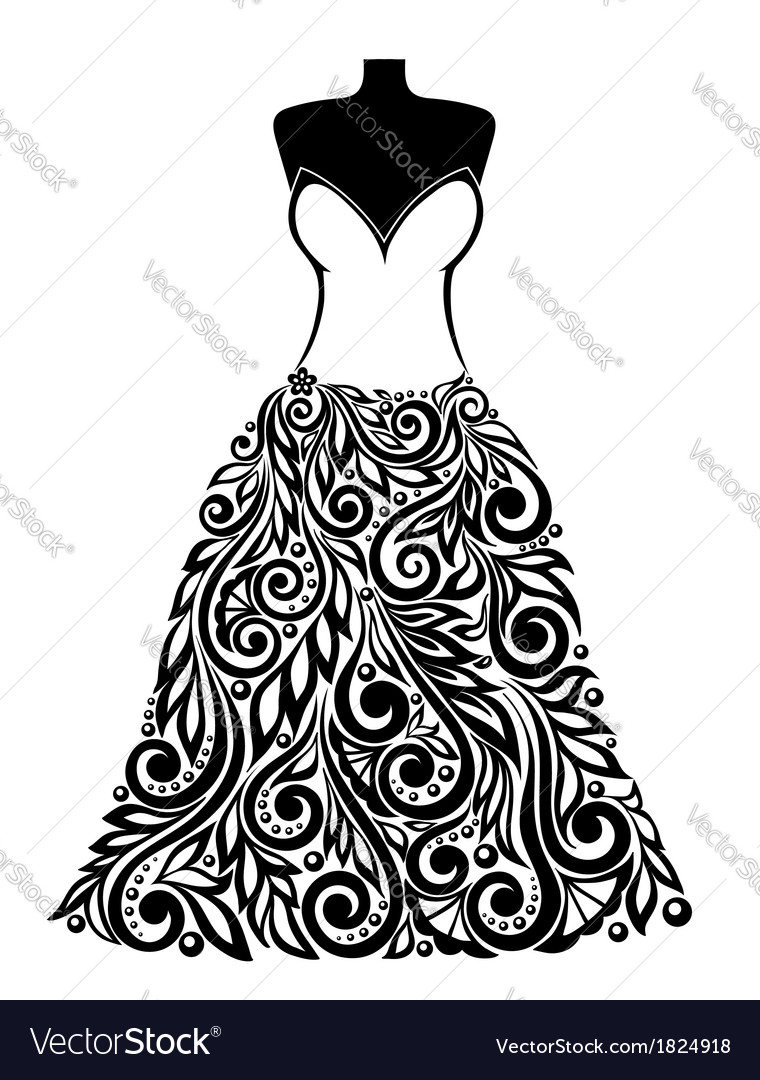 Silhouette of a dress with a floral element vector | Price: 1 Credit (USD $1)