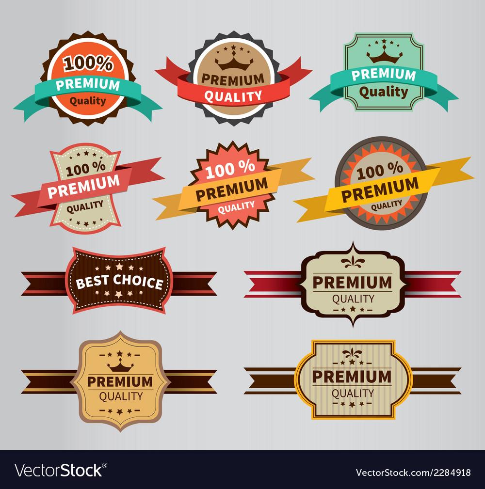 Vintage labels set discount and premium vector | Price: 1 Credit (USD $1)