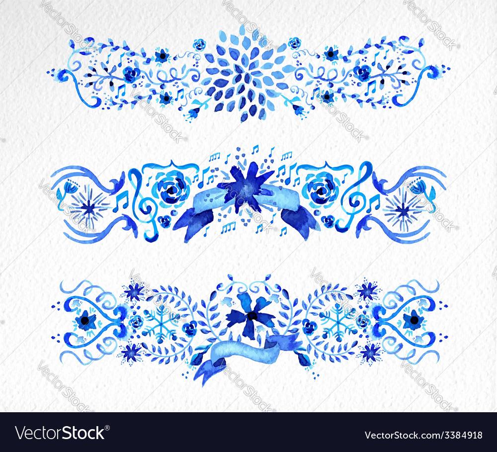 Watercolor flowers ornament set vector | Price: 1 Credit (USD $1)