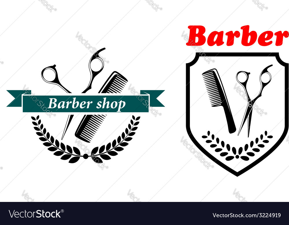 Barber shop emblems or labels vector | Price: 1 Credit (USD $1)