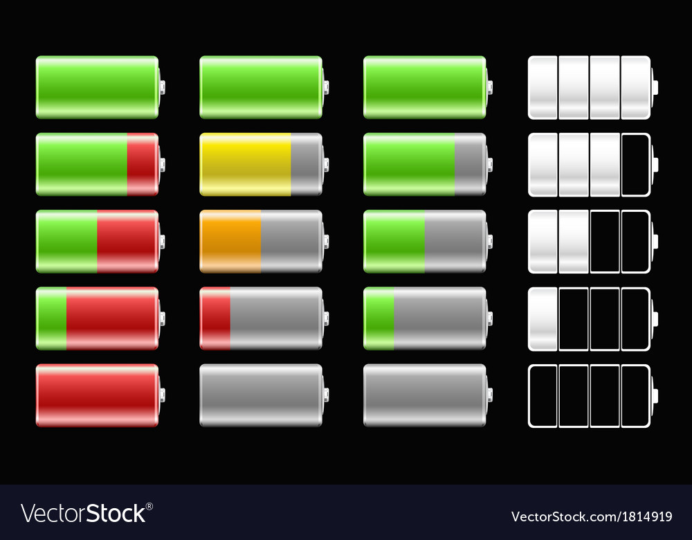 Battery icons with different charge levels for vector   Price: 1 Credit (USD $1)