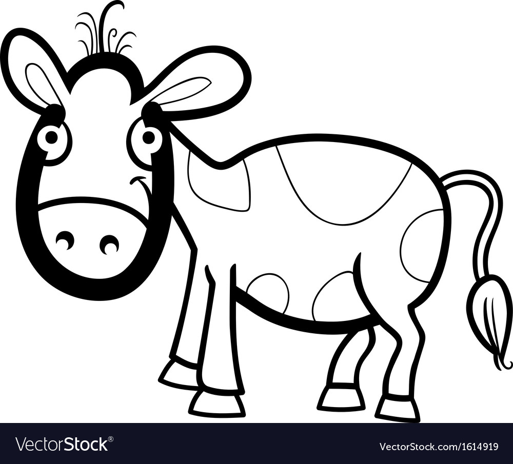 Calf cartoon for coloring book vector | Price: 1 Credit (USD $1)