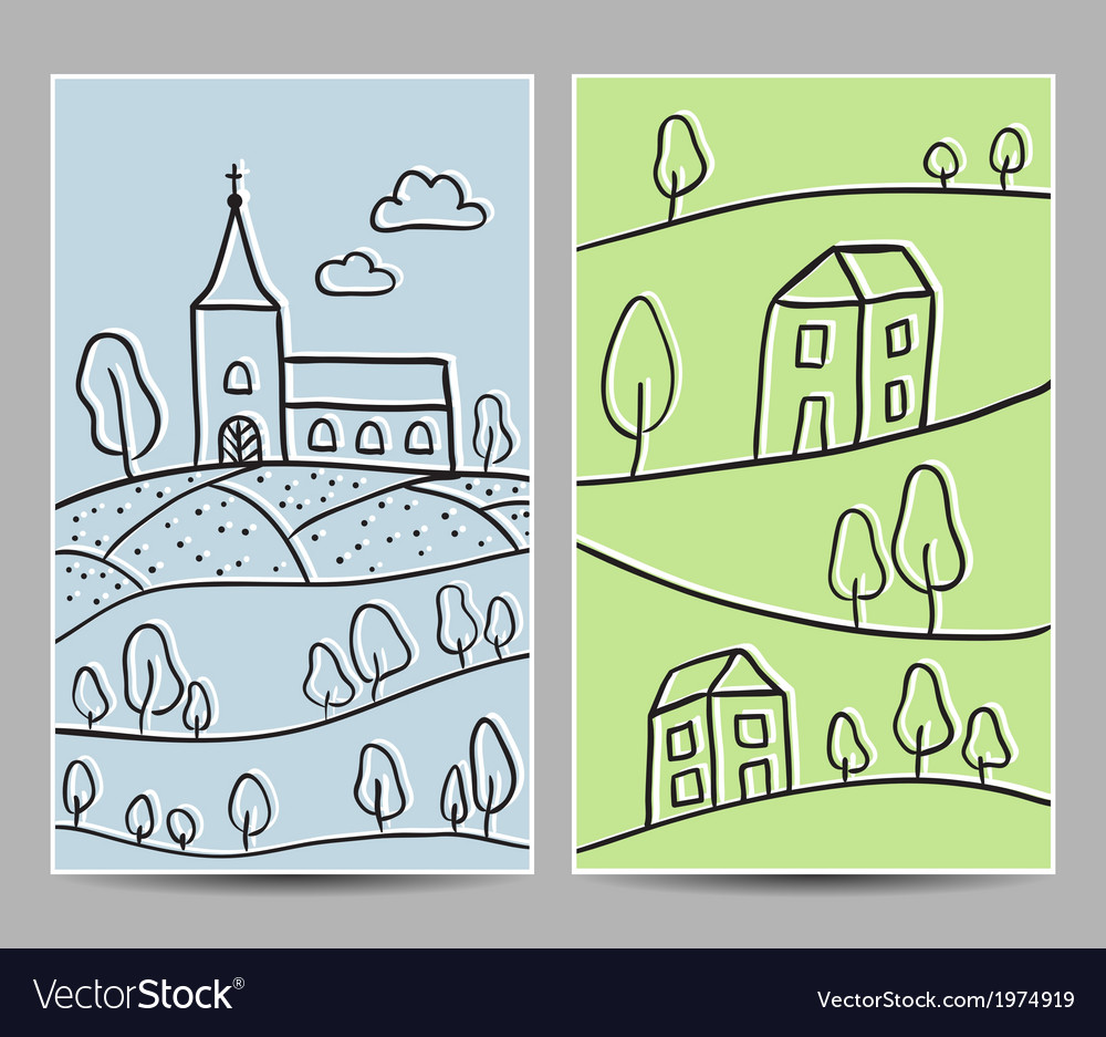 Card church and village vector | Price: 1 Credit (USD $1)
