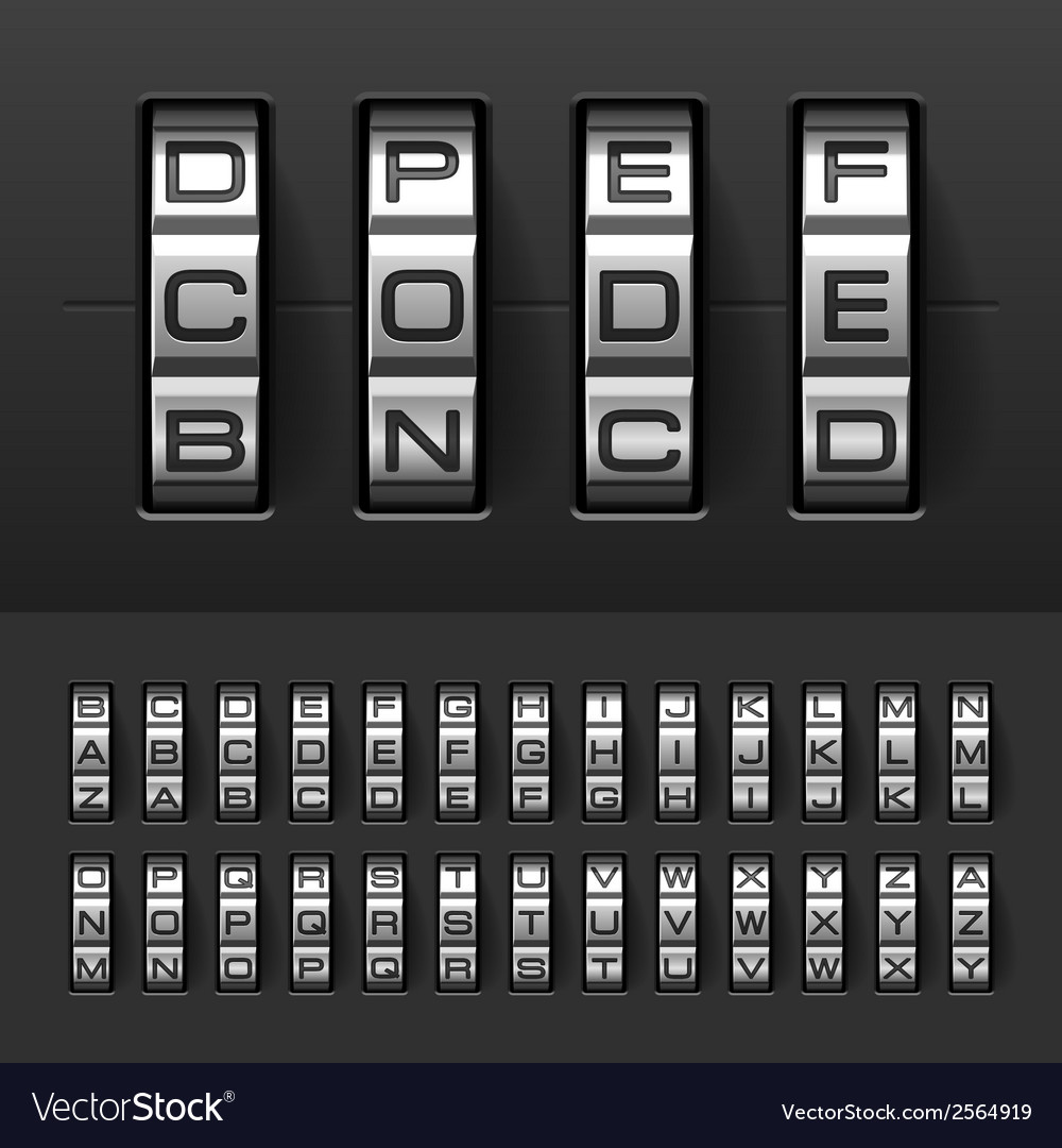 Combination code lock alphabet vector | Price: 1 Credit (USD $1)