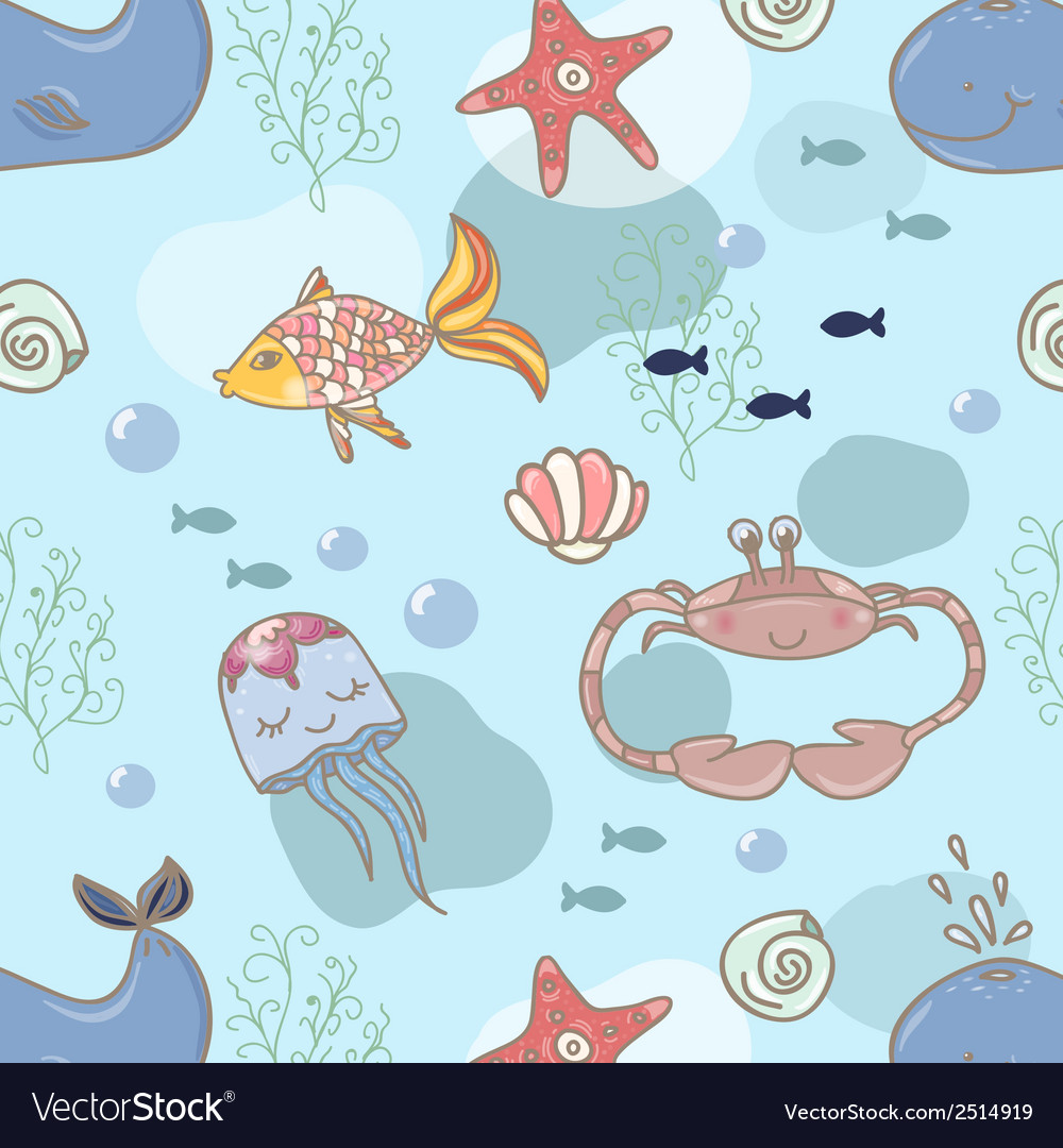 Fish nautical seamless pattern vector | Price: 1 Credit (USD $1)
