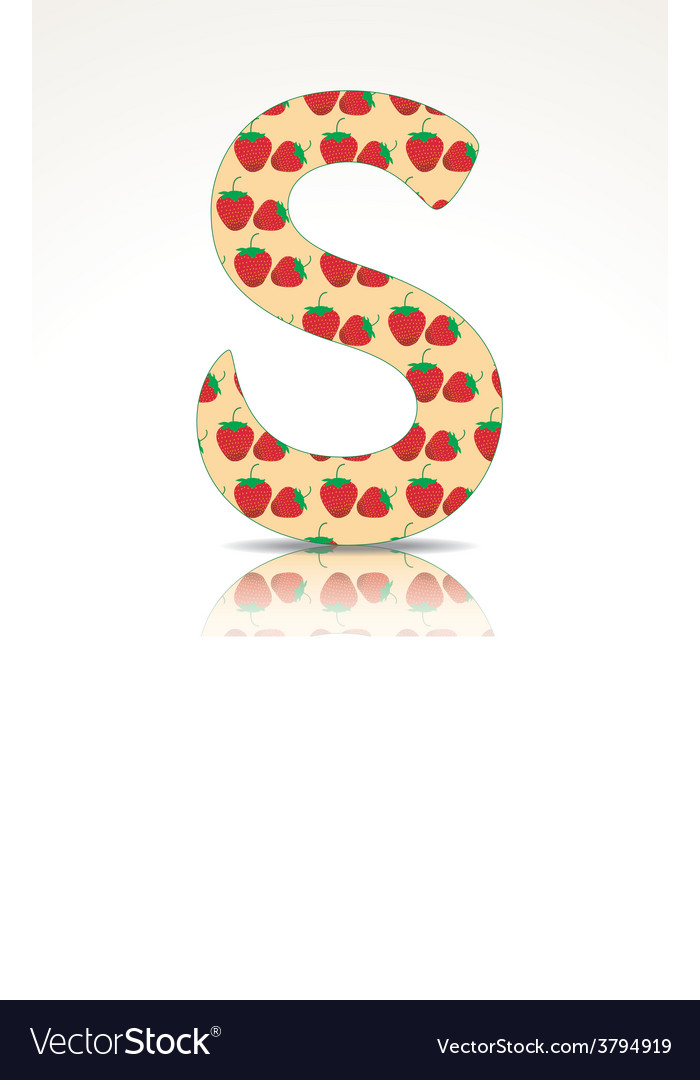 The letter s of the alphabet made of strawberry vector | Price: 1 Credit (USD $1)