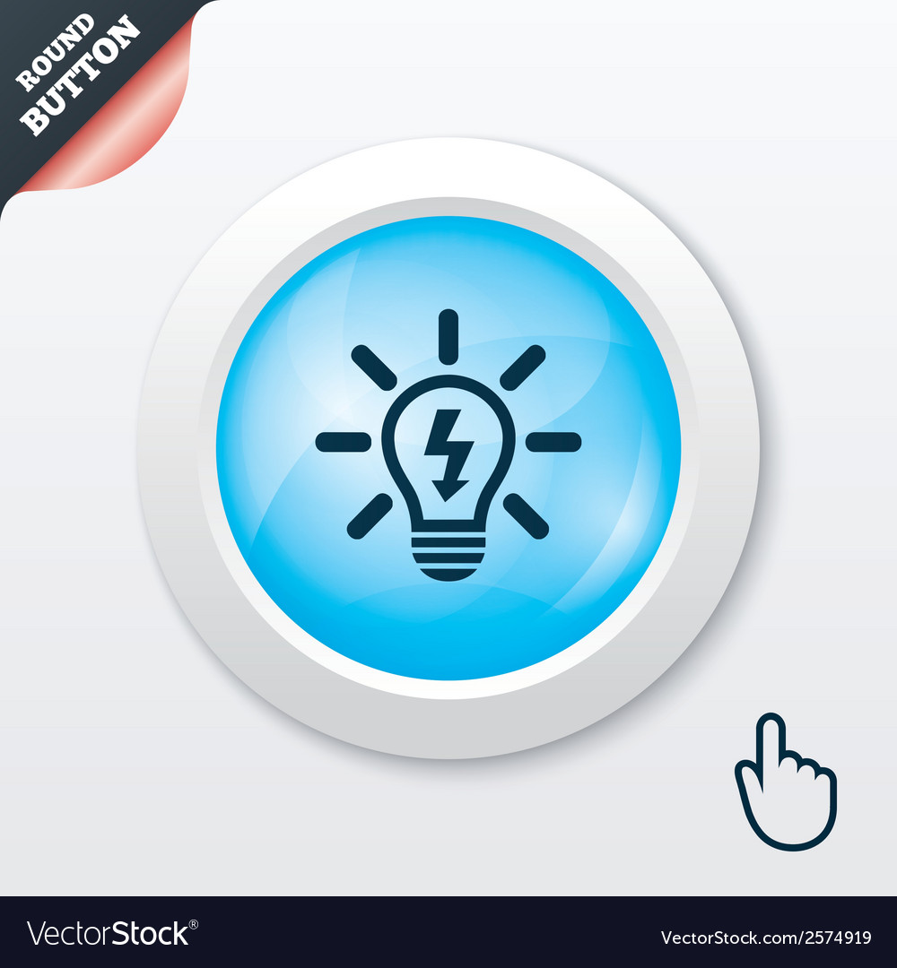Light lamp sign icon bulb with lightning symbol vector | Price: 1 Credit (USD $1)