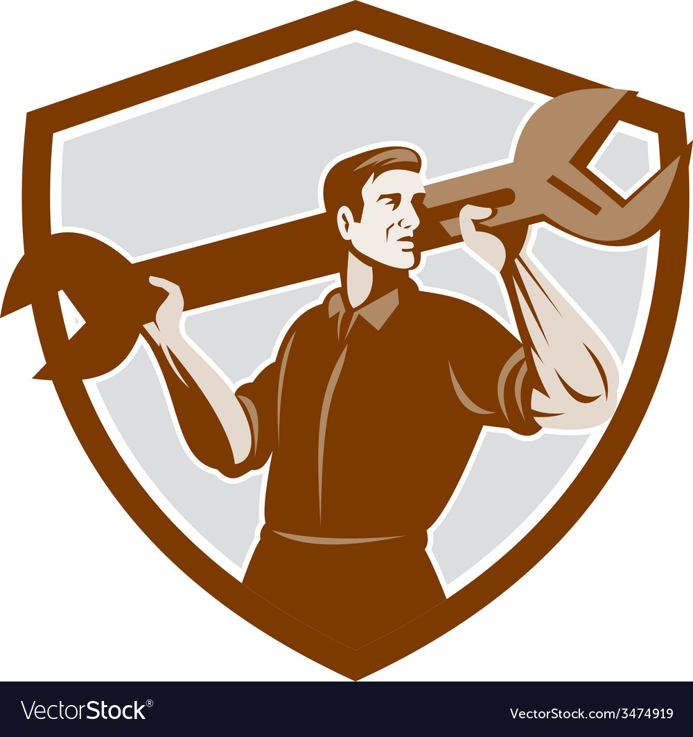 Mechanic lifting spanner wrench shield retro vector | Price: 1 Credit (USD $1)