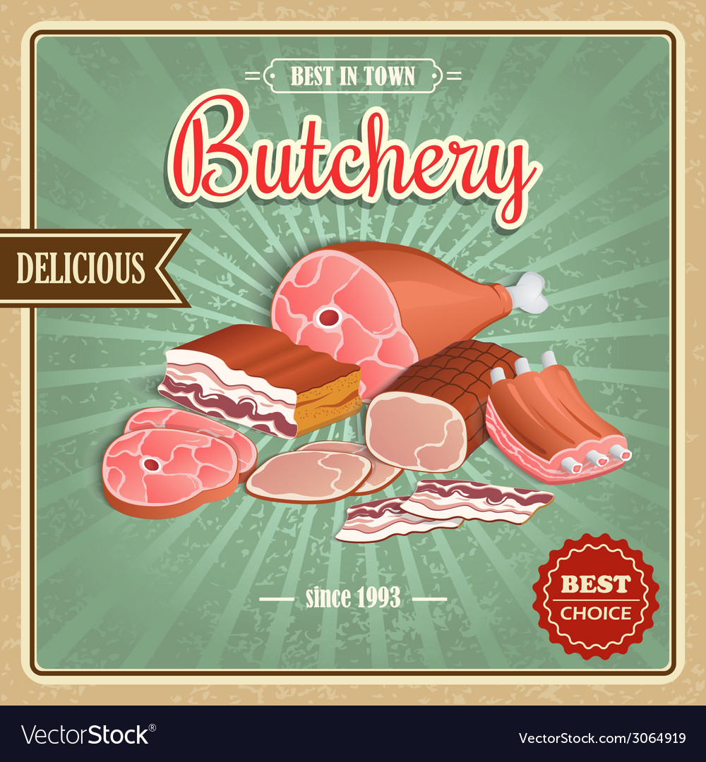 Retro meat poster vector | Price: 1 Credit (USD $1)