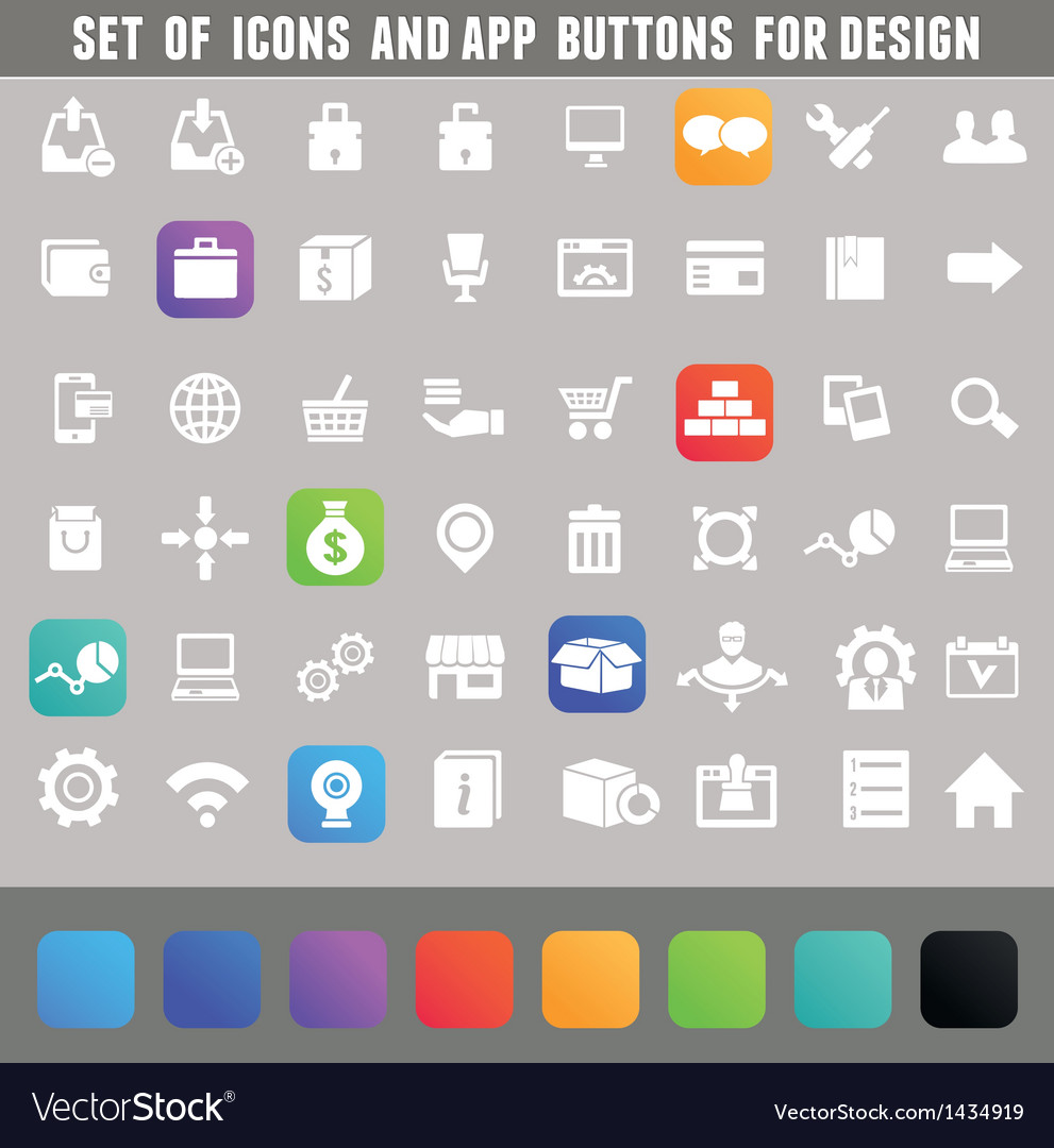 Set of icons and app buttons for design vector | Price: 3 Credit (USD $3)