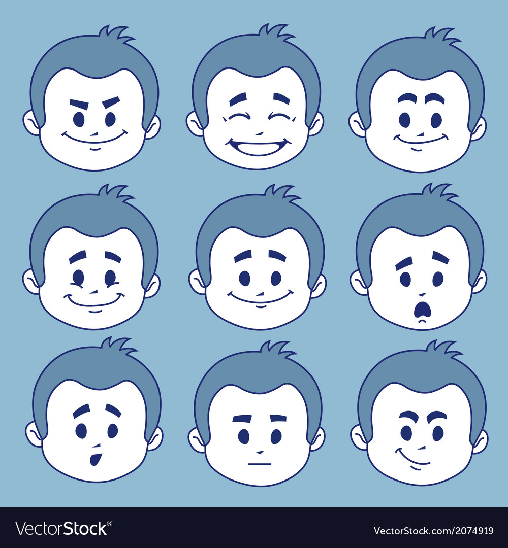 Set of nine facial expressions vector   Price: 1 Credit (USD $1)
