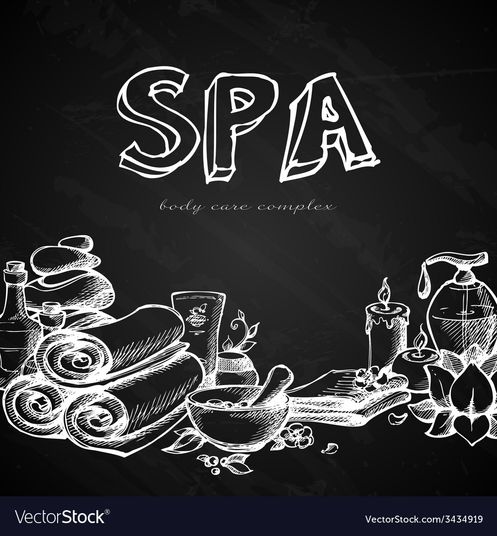 Spa chalkboard background vector | Price: 1 Credit (USD $1)