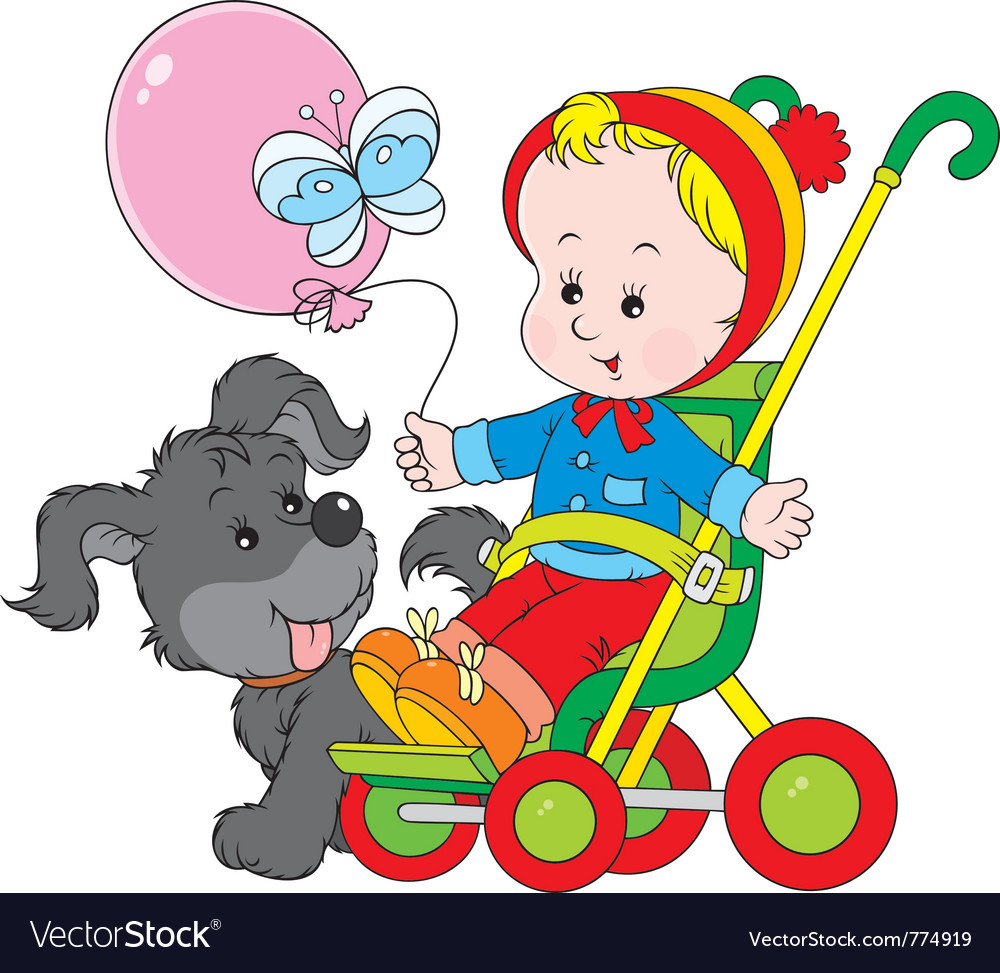 Toddler in a stroller and funny pup vector | Price: 3 Credit (USD $3)