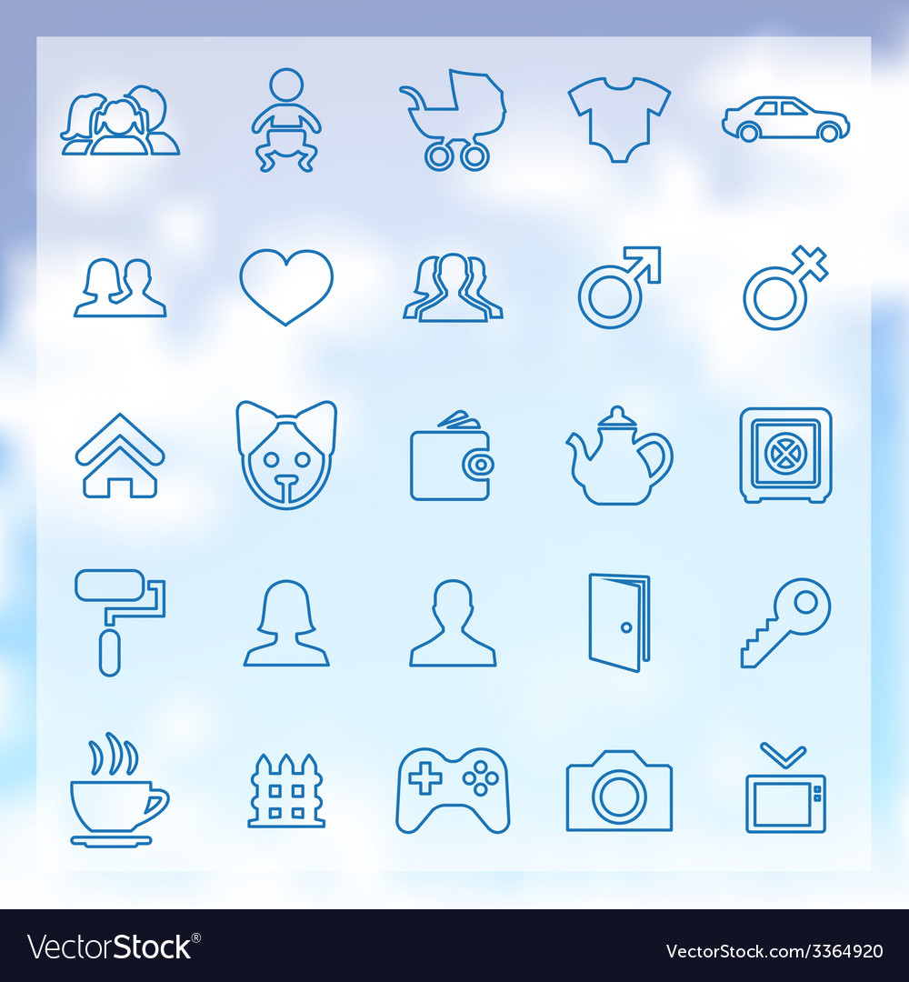 25 family icons vector | Price: 1 Credit (USD $1)