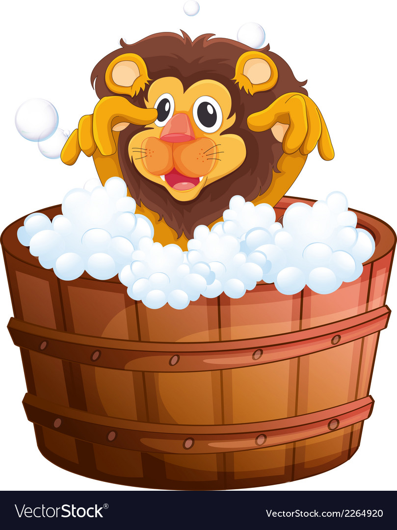 A lion at the bathtub vector | Price: 1 Credit (USD $1)