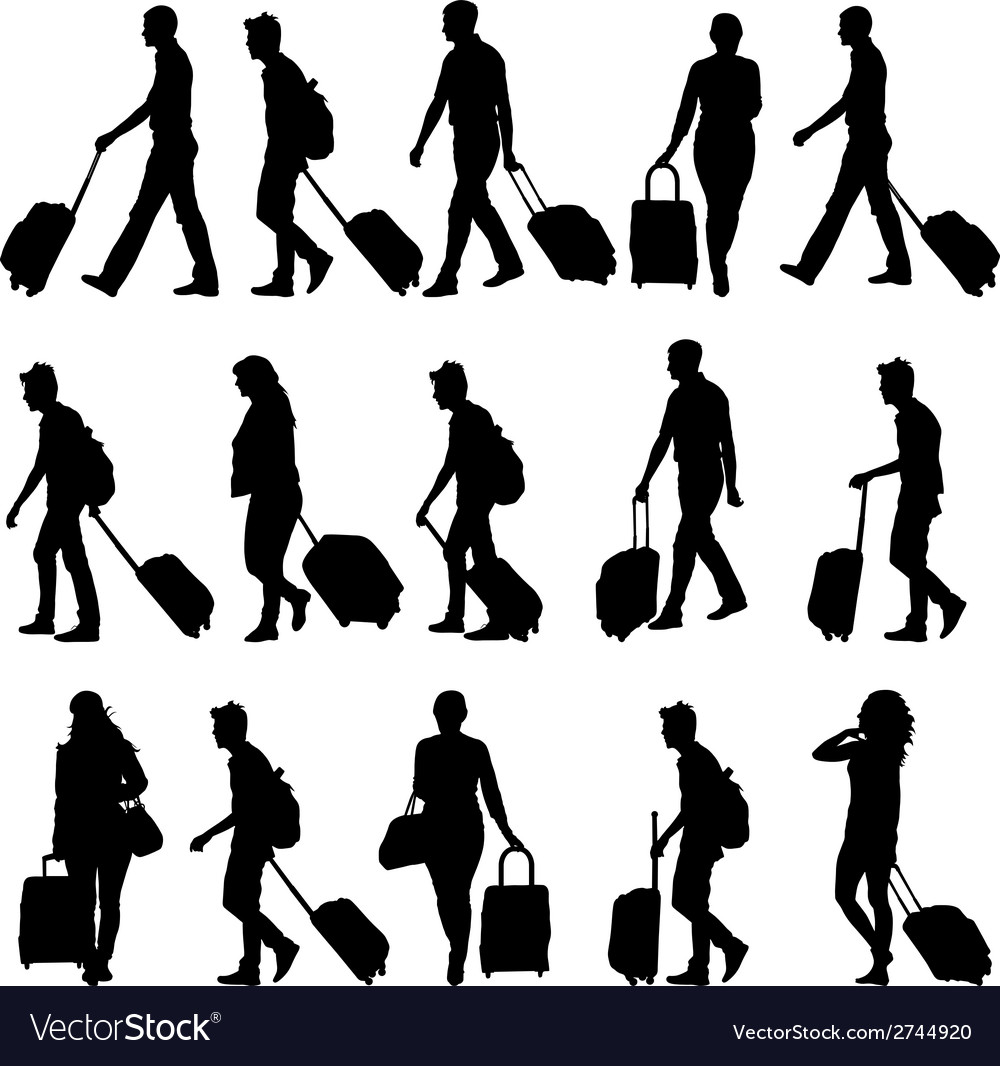 Black silhouettes travelers with suitcases on vector | Price: 1 Credit (USD $1)