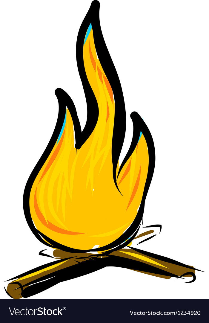 Bonfire simple cartoon doodle image vector | Price: 1 Credit (USD $1)