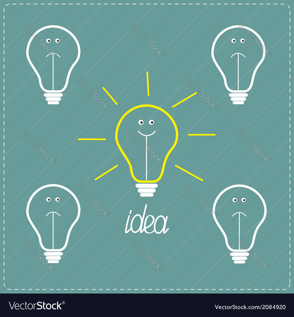 Cute on and off bulbs with faces idea concept vector | Price: 1 Credit (USD $1)