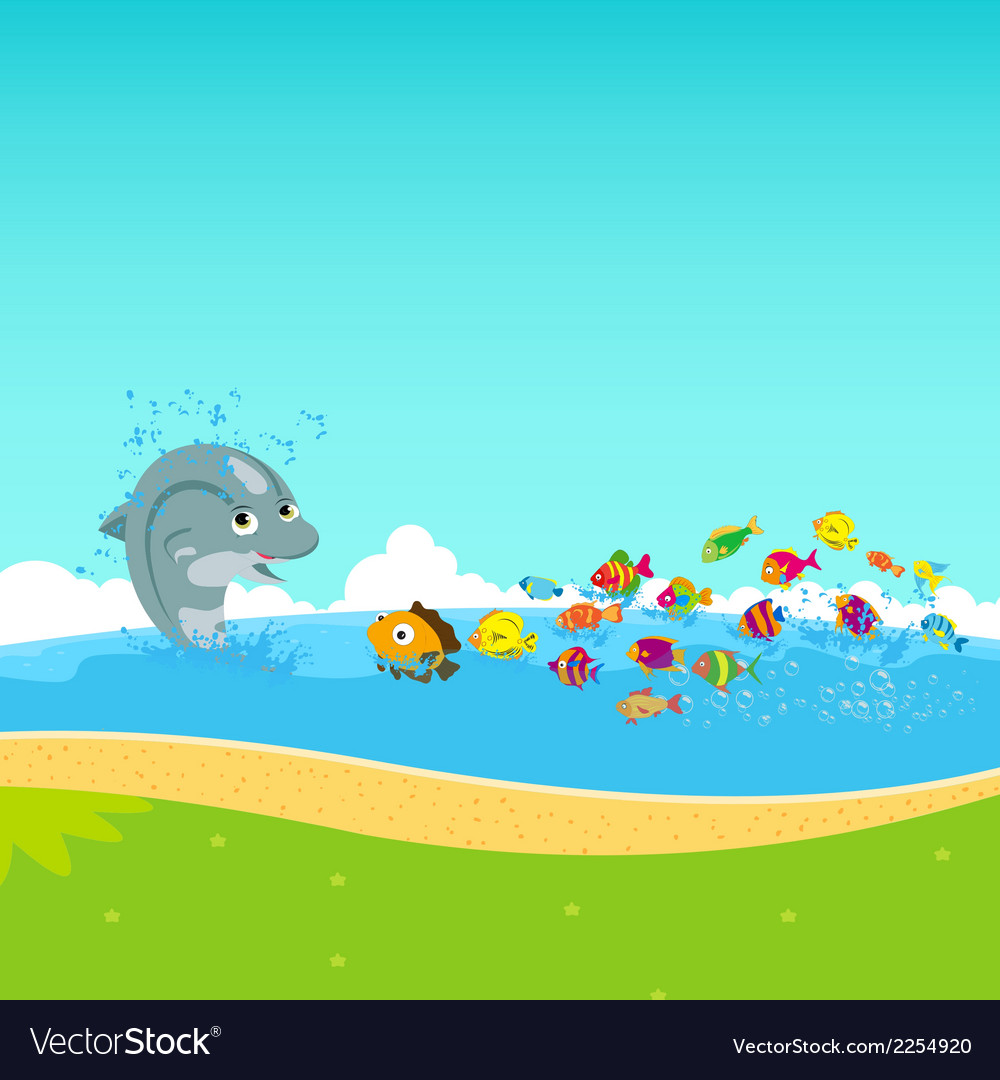 Dolphins and oceanic vector | Price: 1 Credit (USD $1)