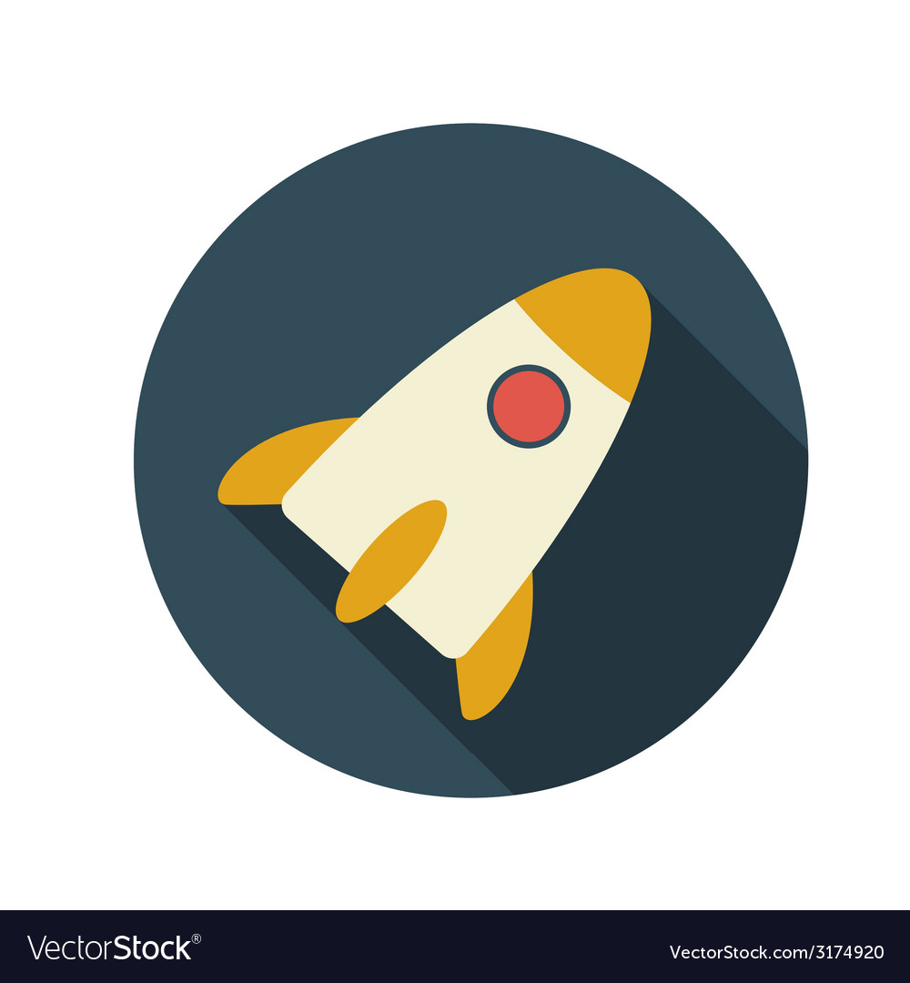 Flat design concept rocket with long shadow vector | Price: 1 Credit (USD $1)
