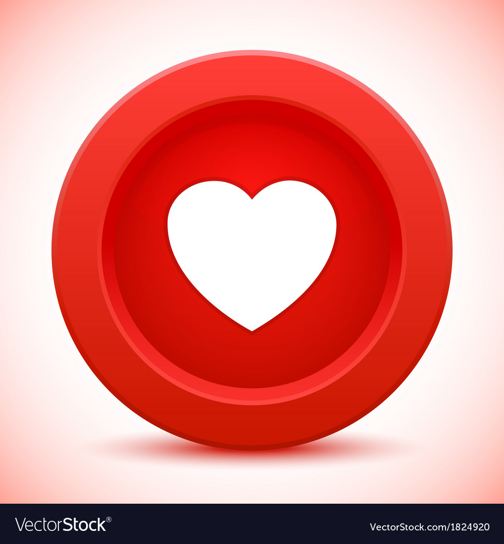 Heart red button vector | Price: 1 Credit (USD $1)