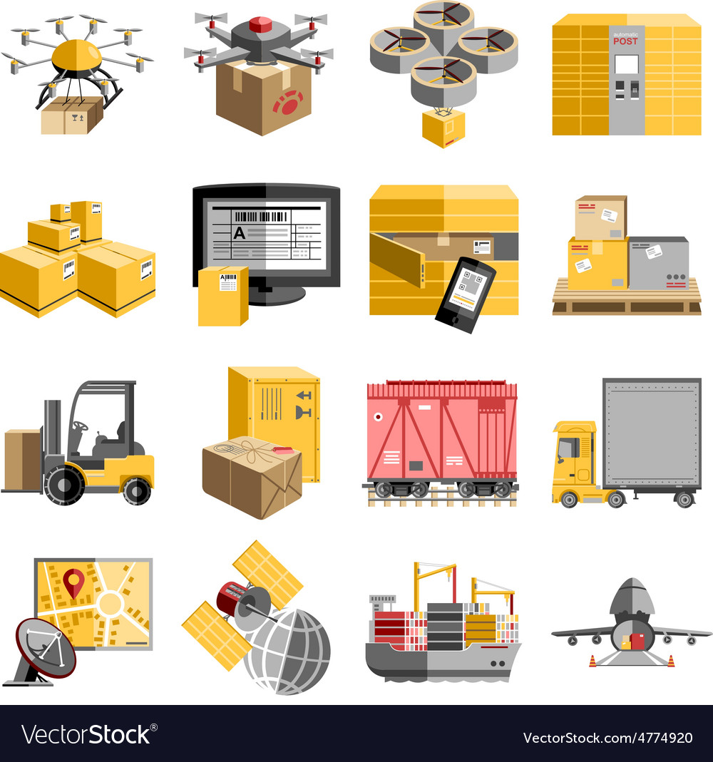 New logistics flat icons set vector | Price: 3 Credit (USD $3)