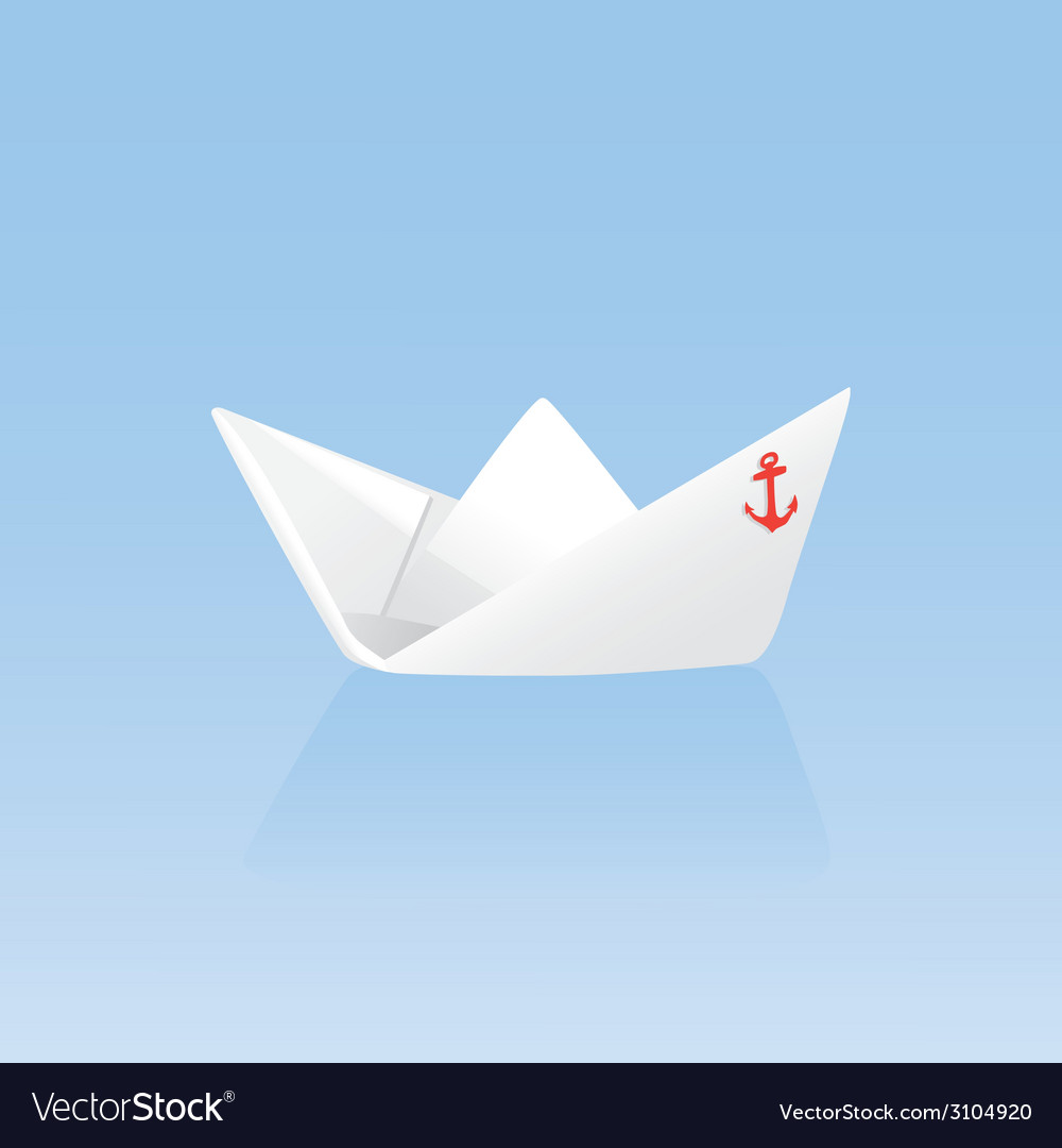 Paper boat on a blue background vector | Price: 1 Credit (USD $1)