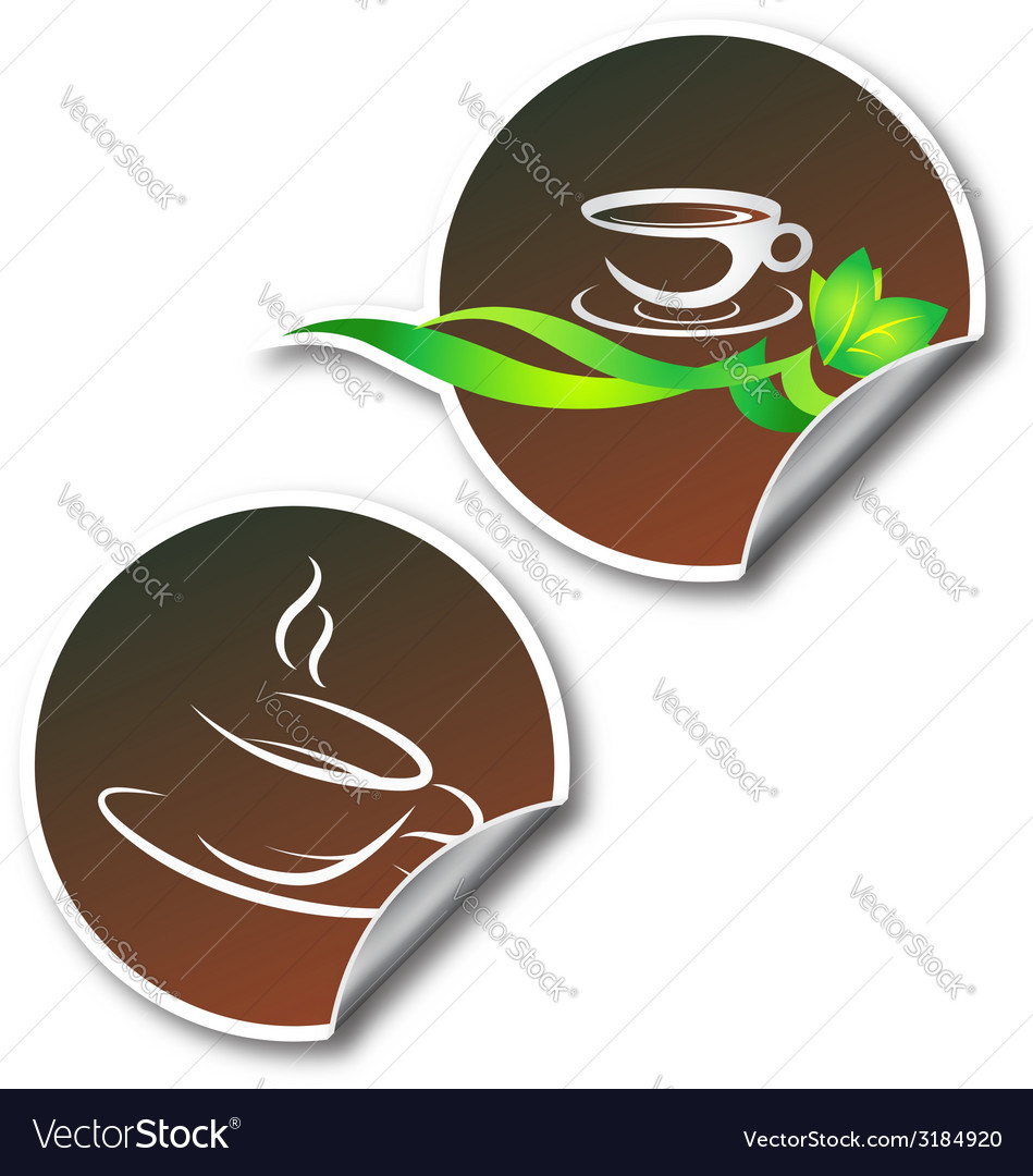 Sticker with coffee cup vector | Price: 1 Credit (USD $1)