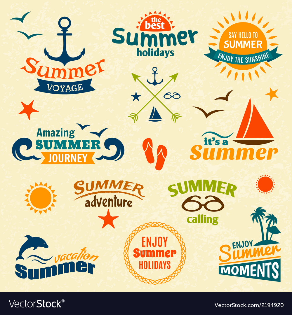 Summer element label set vector | Price: 1 Credit (USD $1)