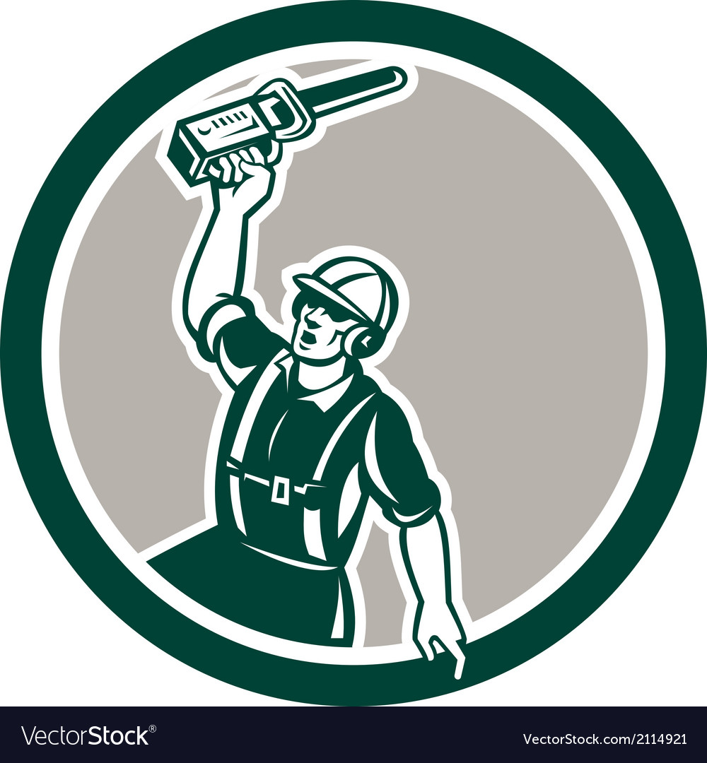 Arborist holding up chainsaw circle retro vector | Price: 1 Credit (USD $1)