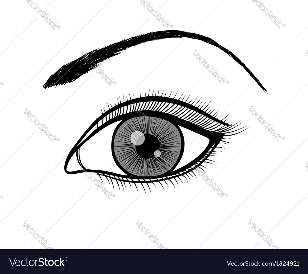 Black and white outline of a female eye vector | Price: 1 Credit (USD $1)